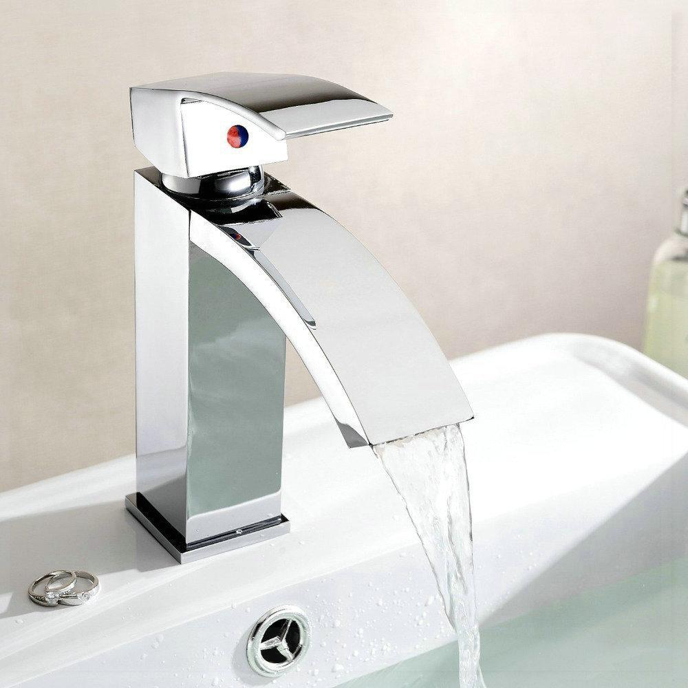 Bateria umywalkowa łazienkowa chromowana wodospad