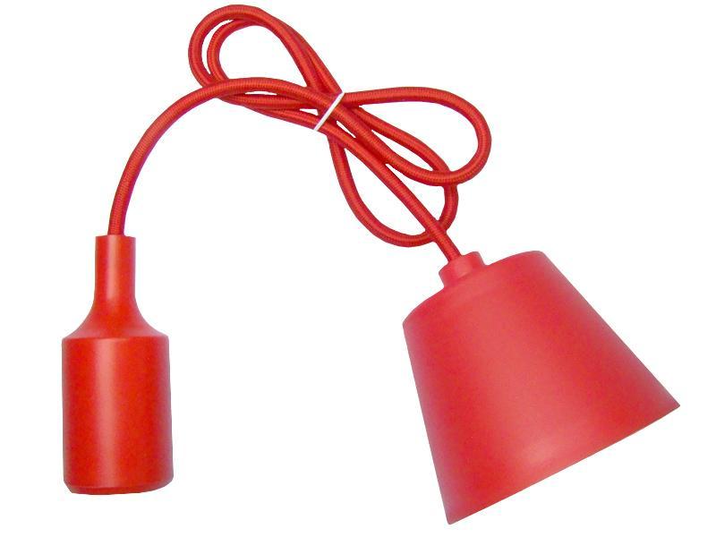 Sufitowa lampka wisząca silikonowa, zwis, loft - CZERWONY