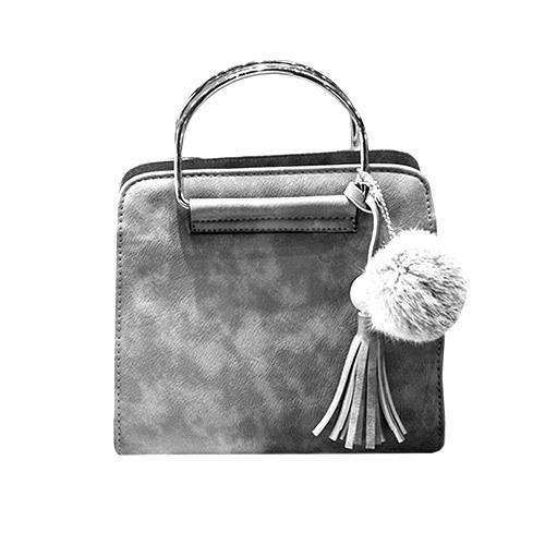 Skórzana torebka kuferek / pompon + frędzel SZARA