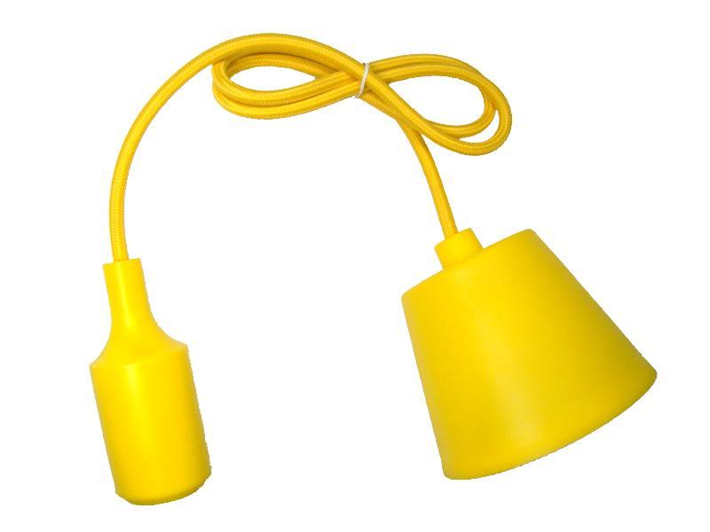 Sufitowa lampka wisząca silikonowa, zwis, loft - ŻÓŁY
