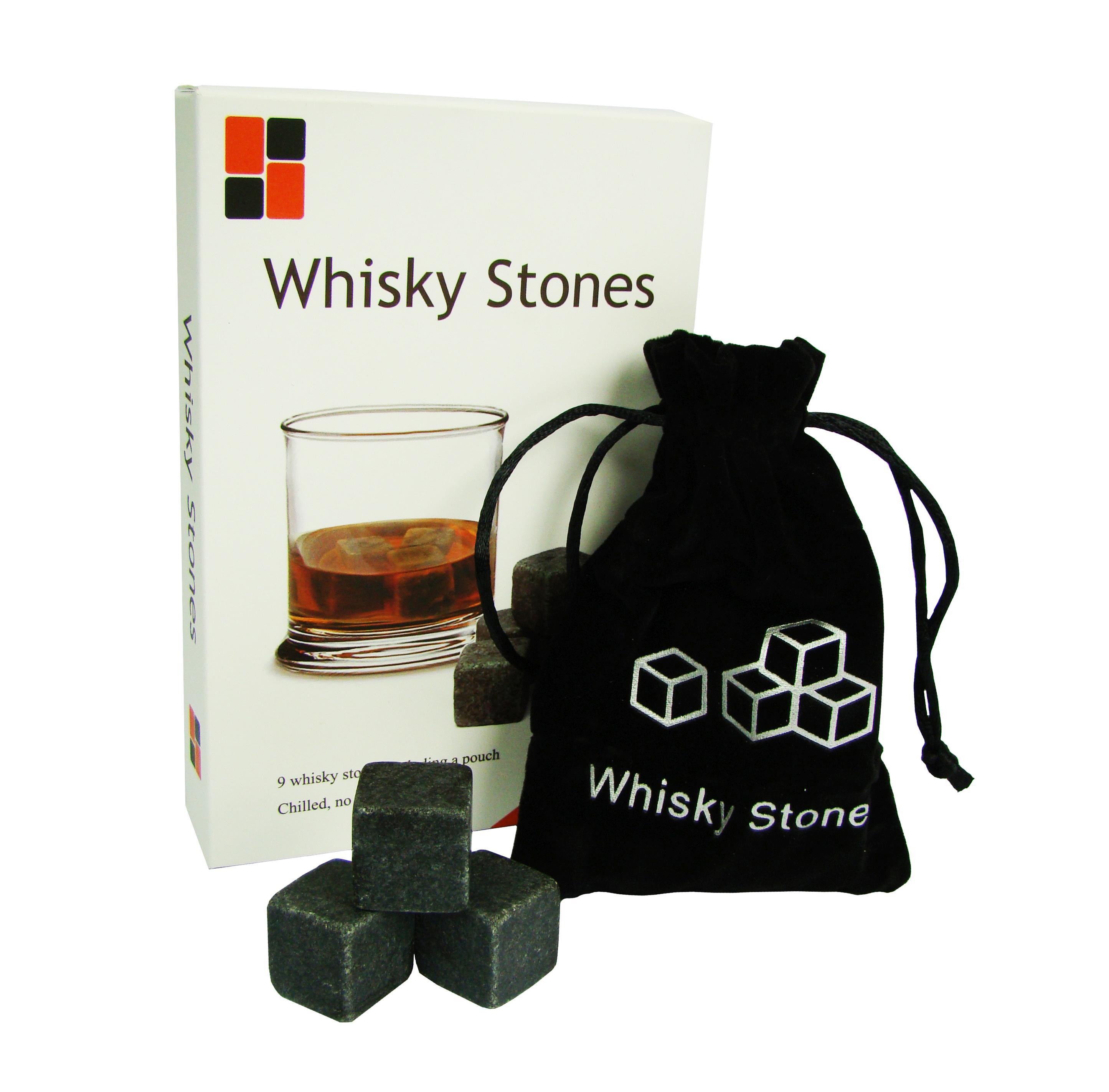 BOX WHISKY STONES - kostki, kamienie do drinków CZARNY