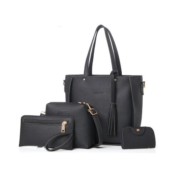 ZESTAW 4w1: skórzana torebka, saszetka, shopperbag CZARNY