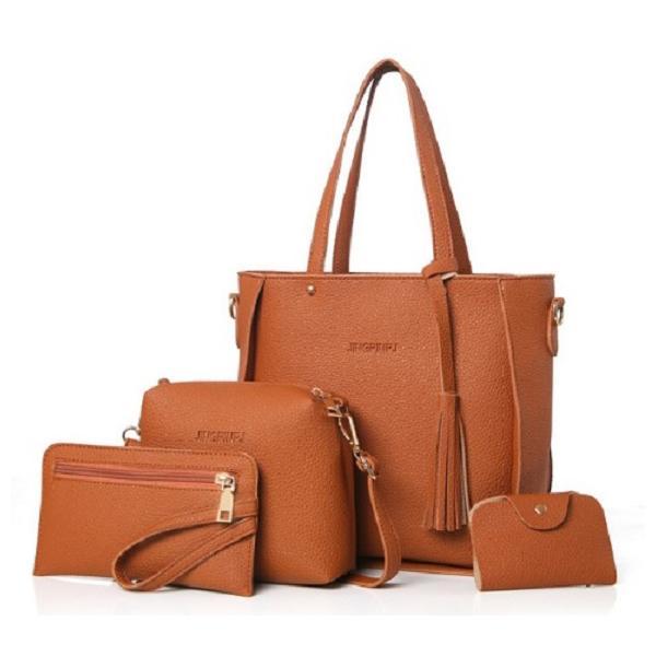 ZESTAW 4w1: skórzana torebka, saszetka, shopperbag BRĄZOWY