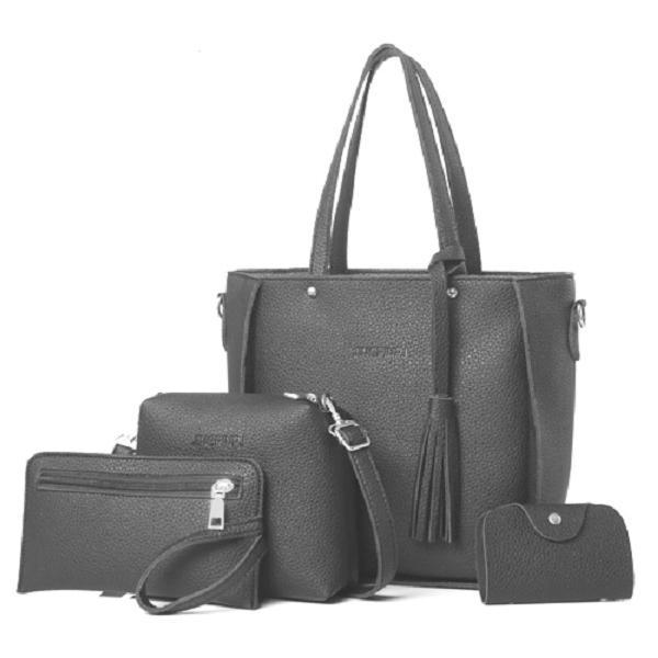 ZESTAW 4w1: skórzana torebka, saszetka, shopperbag CIEMNY SZARY