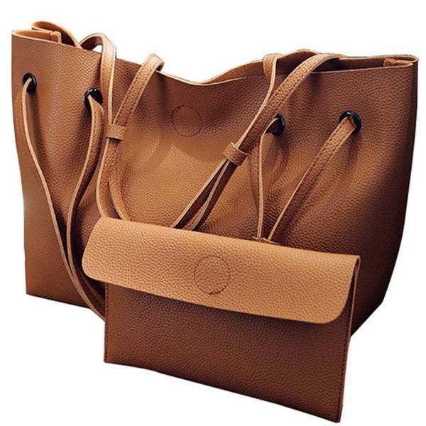 Skórzana torebka damska + saszetka BRĄZOWA