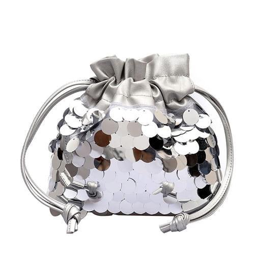 mała torebka mały worek cekiny łańcuszek srebrna