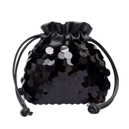 mała torebka mały worek cekiny łańcuszek czarna