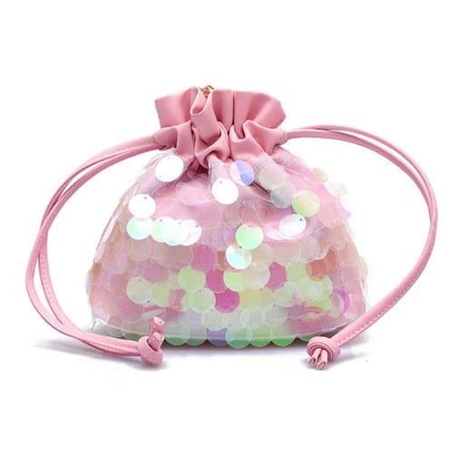 mała torebka mały worek cekiny łańcuszek różowy