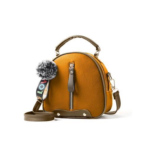 torebka kuferek pasek rączka pompon brelok brązowy