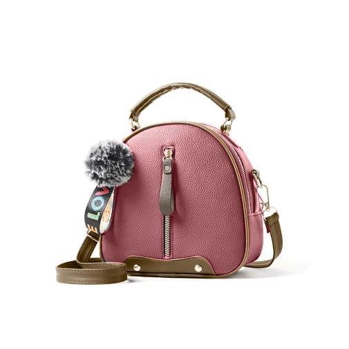 torebka kuferek pasek rączka pompon brelok różowy
