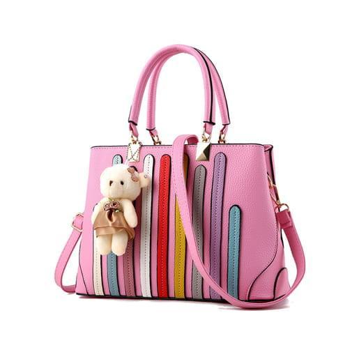 torebka miejska shopper paski brelok miś różowa