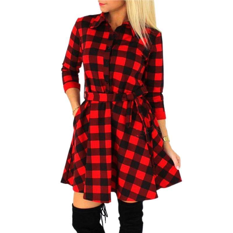 sukienka w kratkę koszula rozkloszowana krata czerwono-czarna