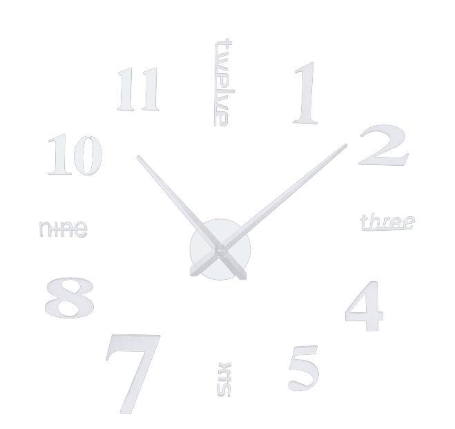 Nowoczesny zegar ścienny DIY SREBRNY