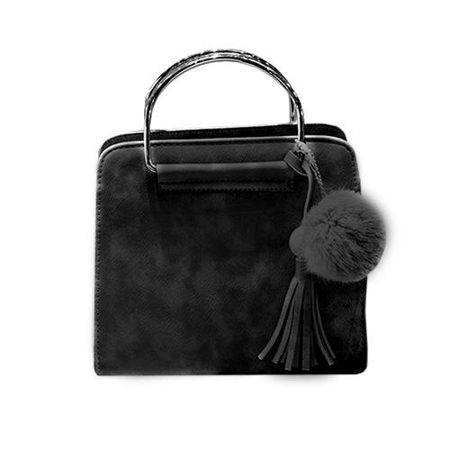 Skórzana torebka kuferek / pompon + frędzel CZARNA