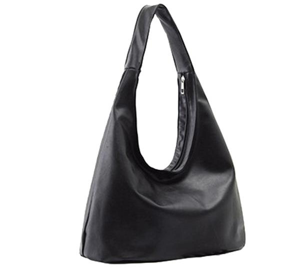 Duża, czarna torebka z eko-skóry