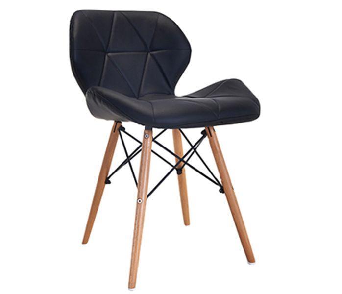 Nowoczesne krzesło tapicerowane skóra DSW CZARNE