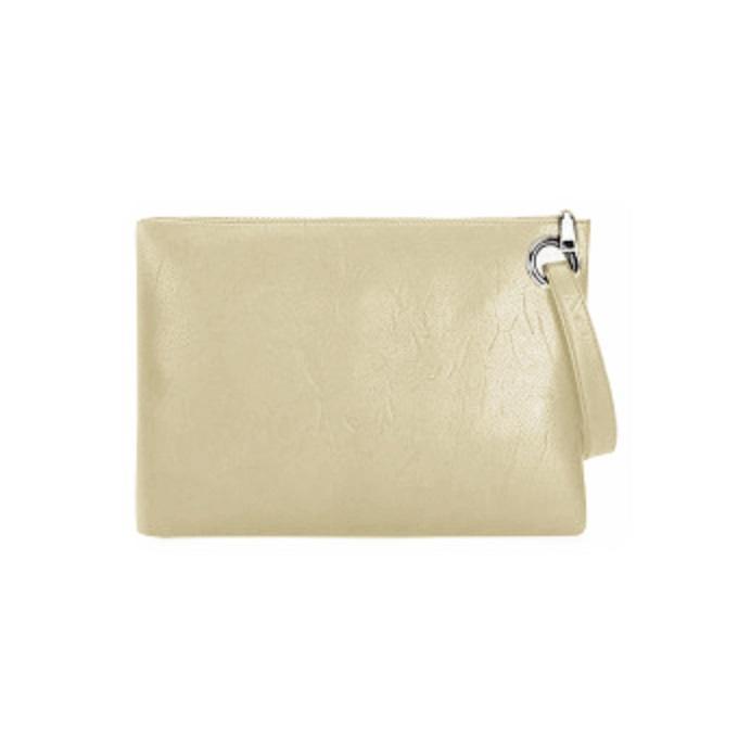 BEŻOWA skórzana torebka / kopertówka / saszetka do ręki
