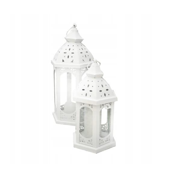 LATARNIA LAMPION latarenka VINTAGE biała metal