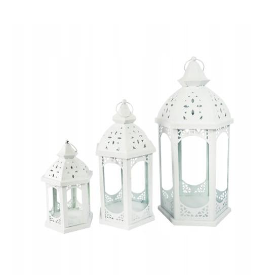 Latarnia lampion latarenka vintage biała 3 szt XL