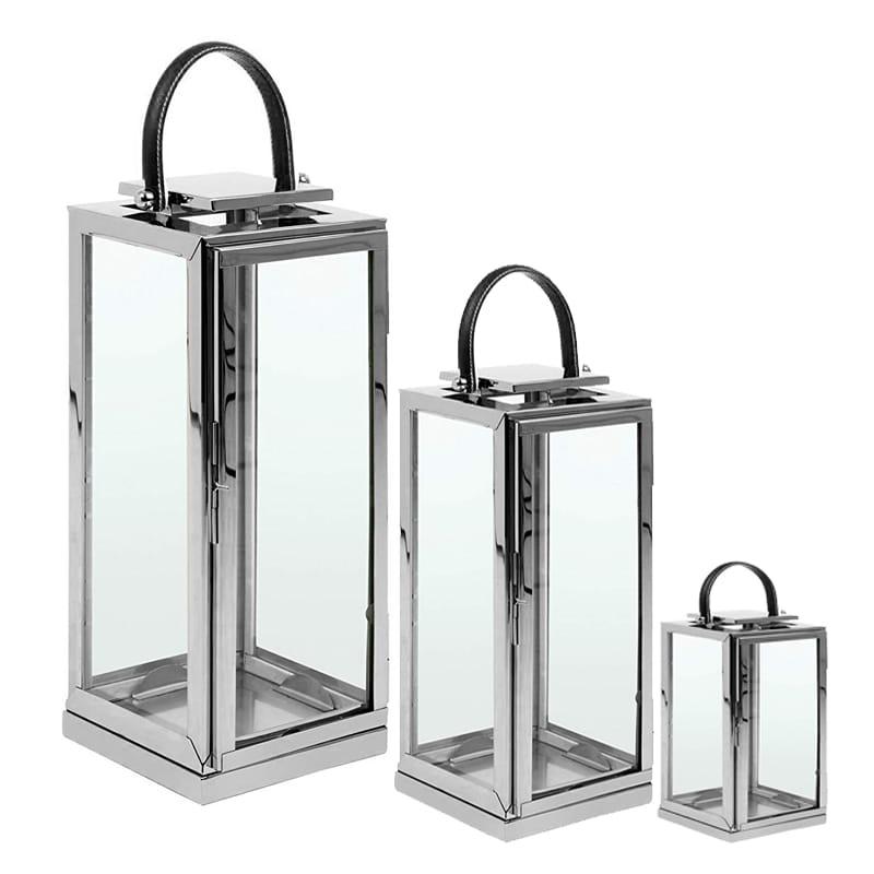 zestaw 3 latarnie lampiony latarenki srebrne szkło